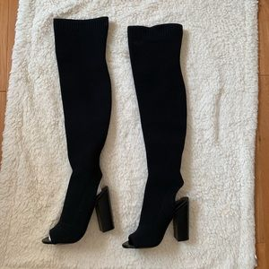 Black Over The Knee High Peep Toe Boots